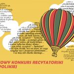 plakat: na żółtym tle wsród chmur leci balon, a na chmurach unosi sie tekst
