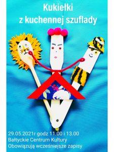plakat: informacja o imprezie,na turkusowym tle leżą derwniane łyżki i szpatułki pezrobione na lwa, pirata i lalkę