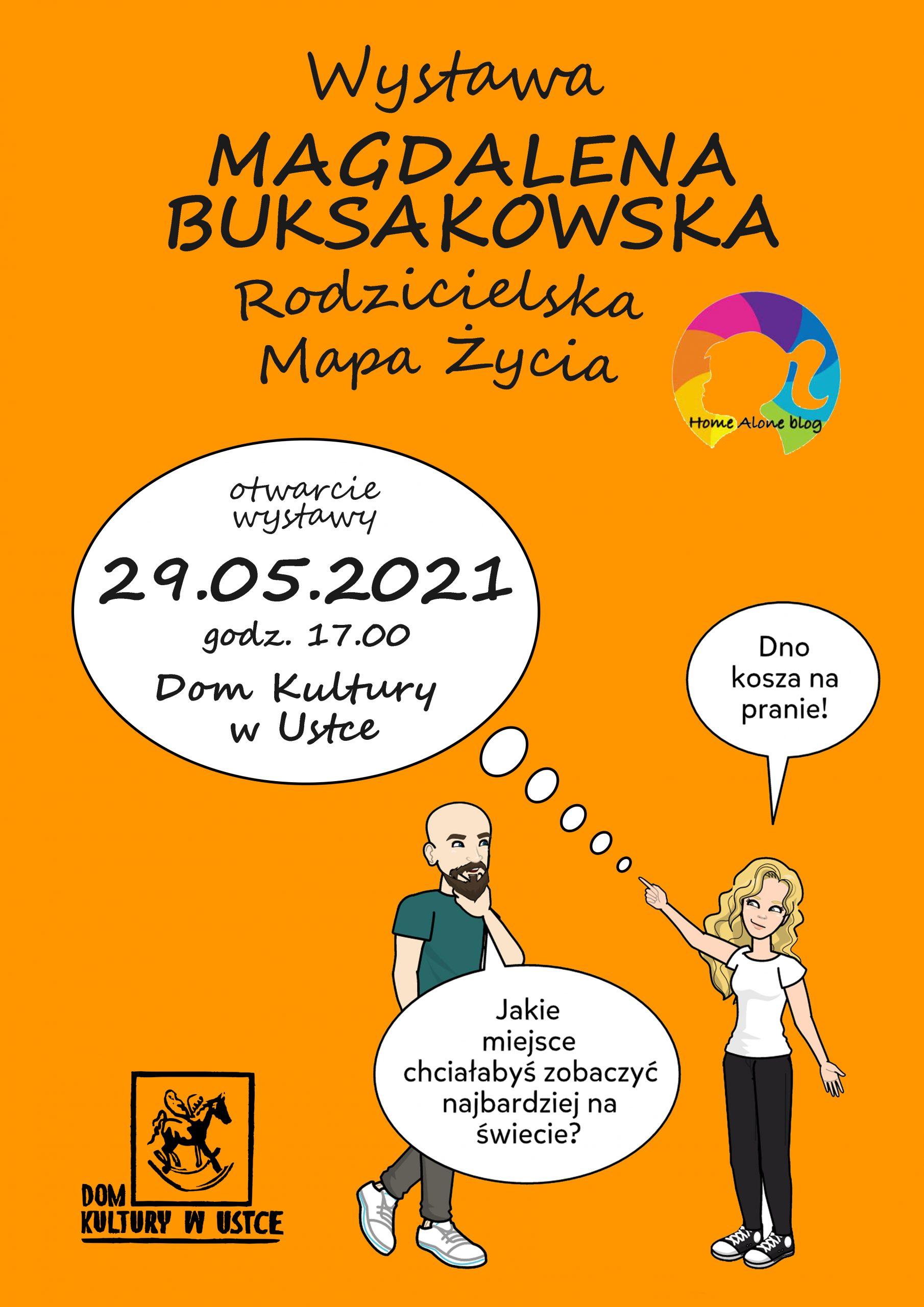 plakat; na pomarańczowym tle, kobieta i mężczyzna rozmawiają, tekst w dymkach, informacja o wystawę Rodzicielska Mapa Życia