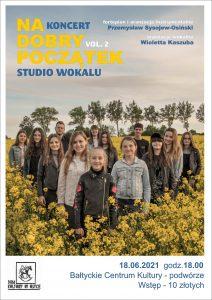plakat: młodzież w rzepaku, informacje dotyczące koncertu młodzieży